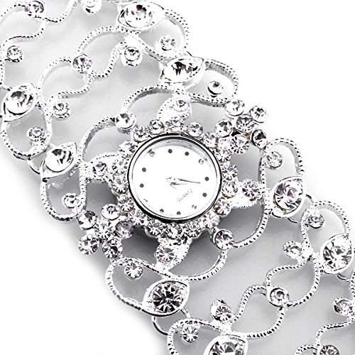 Armbanduhr Damenuhr Uhr Quarzuhrwer Blume mit Strass Versilbert Silberfarbe NEU