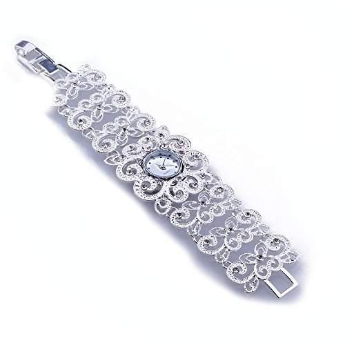 FACILLA® 1x Damenuhr Armbanduhren Uhr Quarzuhrwerk Blume mit Strass Silberfarbe