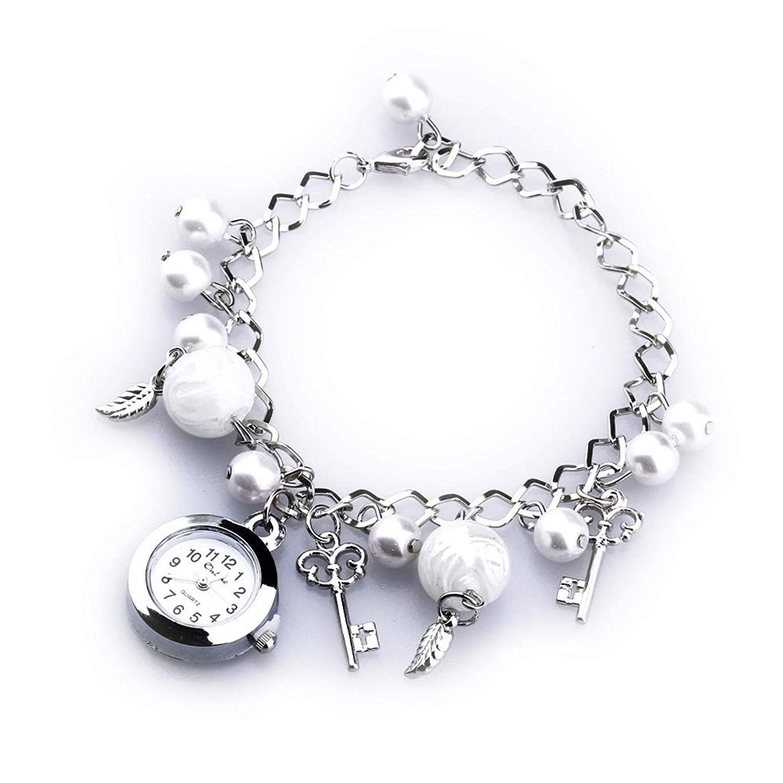 Armbanduhr Armreif-Uhr Damenuhr Bettelarmband-Uhr mit Anhaenger silberfarbe+weiss