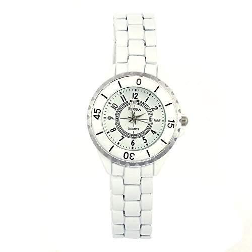 FACILLA® Damen Armbanduhr Armbanduhren Armband Quarz Uhr Watch Imitation Keramik Weiss HOT