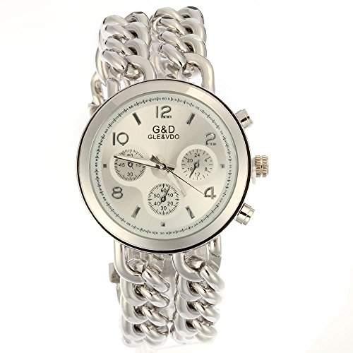 FACILLA® Damen Modeuhr Armbanduhren Armreifen Armkette Uhr Damenuhr SILBERFARBE TREND