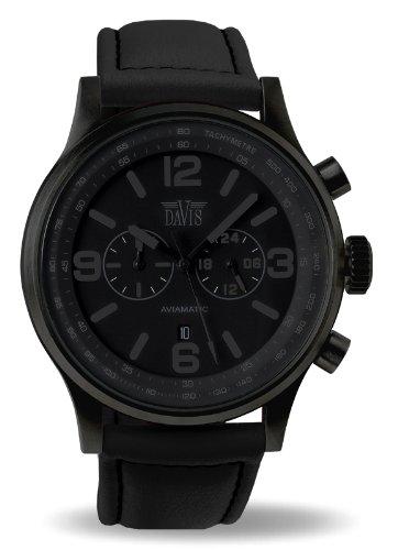 Davis 1278 Herren Militaer Uhr Phantom Chronograph Wasserdicht 50M Ziffernblatt Schwarz Datum Lorica armband Schwarz