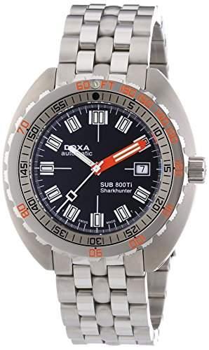 DOXA SUB 800Ti Sharkhunter Herren Automatik Uhr mit schwarzem Zifferblatt Analog-Anzeige und Silber Edelstahl Armband 8015010111
