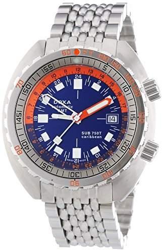 DOXA SUB 750T GMT Caribbean Herren Automatik Uhr mit Blau Zifferblatt Analog-Anzeige und Silber Edelstahl Armband 85010201N10