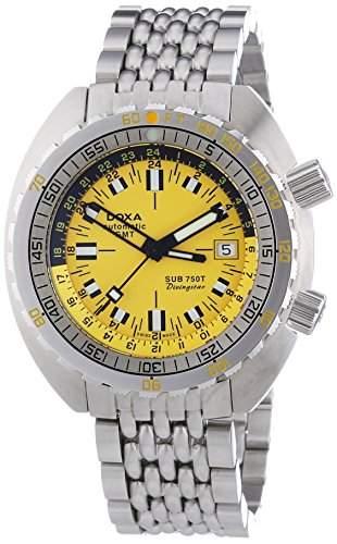 DOXA SUB 750T GMT Divingstar Herren Automatik Uhr mit Gelb Zifferblatt Analog-Anzeige und Silber Edelstahl Armband 85010Y361N10