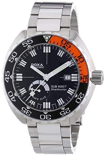 DOXA SUB 4000T Sharkhunter Sapphire bezel Herren Automatik Uhr mit schwarzem Zifferblatt Analog-Anzeige und Silber Edelstahl Armband 8761010110