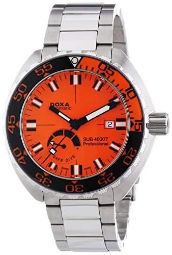 DOXA SUB 4000T Professional Sapphire bezel Herren Automatik Uhr mit Orange Zifferblatt Analog-Anzeige und Silber Edelstahl Armband 8761035110