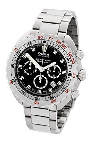 DOXA SUB 300t-graph Sharkhunter Herren Automatik Uhr mit schwarzem Zifferblatt Chronograph-Anzeige und Silber Edelstahl Armband 8771010110