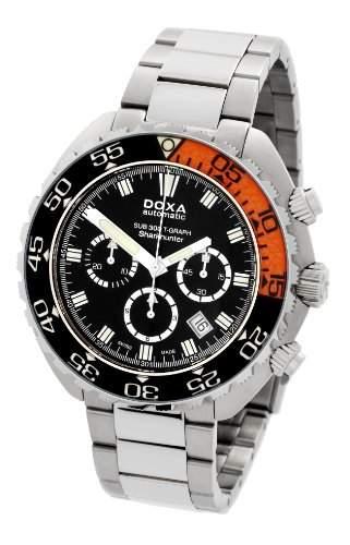 DOXA SUB 300t-graph Sharkhunter Sapphire bezel Herren Automatik Uhr mit schwarzem Zifferblatt Chronograph-Anzeige und Silber Edelstahl Armband 8781010110