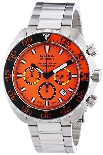 DOXA SUB 300t-graph Professional Sapphire bezel Herren Automatik Uhr mit Orange Zifferblatt Chronograph-Anzeige und Silber Edelstahl Armband 8781035110