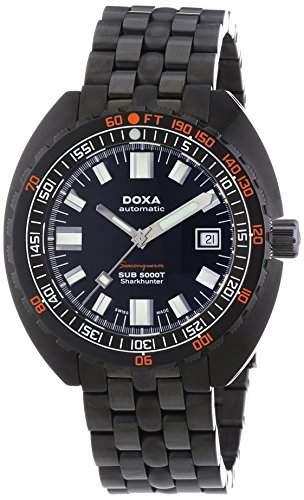 DOXA SUB 5000T Military Edition Sharkhunter PVD Herren Automatik Uhr mit schwarzem Zifferblatt Analog-Anzeige und schwarz Edelstahl vergoldet Armband 88030101N11