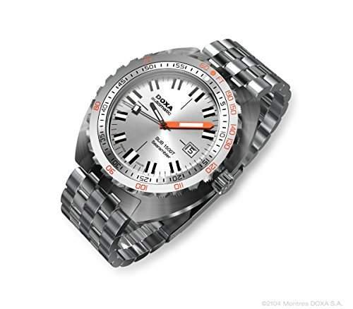 DOXA SUB 1500T searambler II Herren Automatik Armbanduhr mit Silber Zifferblatt Analog-Anzeige und Silber Edelstahl Armband 8811002110
