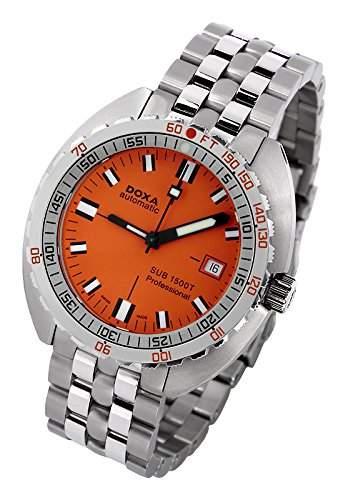 DOXA SUB 1500T Professional II Herren Automatik Uhr mit Orange Zifferblatt Analog-Anzeige und Silber Edelstahl Armband 8811035110