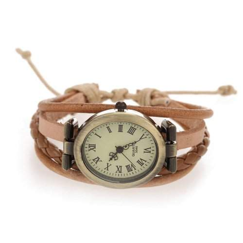 Damen Uhr Herrenuhr Armbanduhr Quarzwerk Unisex PU-Leder Hellbraun Quarzuhr Mode