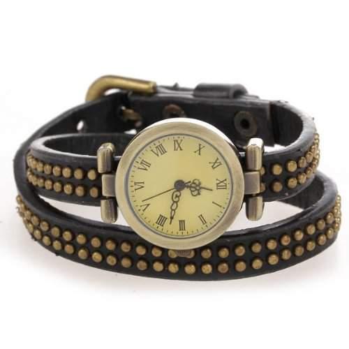 Damen Uhr Armband Armbanduhr Quarz Uhren Echtleder mit Nieten Schwarz Modisch