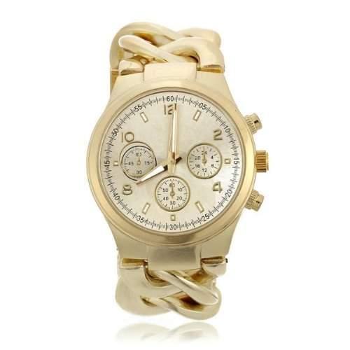Damen Armbanduhr Armkette Armreifen Uhr Quarzuhr Goldfarbe Damenuhr Edel
