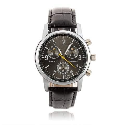Herren Uhr Herrenuhr Armbanduhr Quarzwerk PU Leder Schwarz Quarzuhr