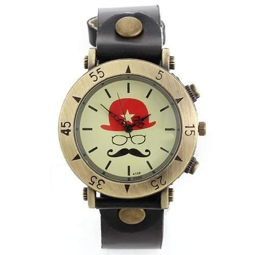 Uhr Armbanduhr Quarzuhren Quarz Watch Damenuhr Herrenuhr Unisex Hut Bart Schwarz