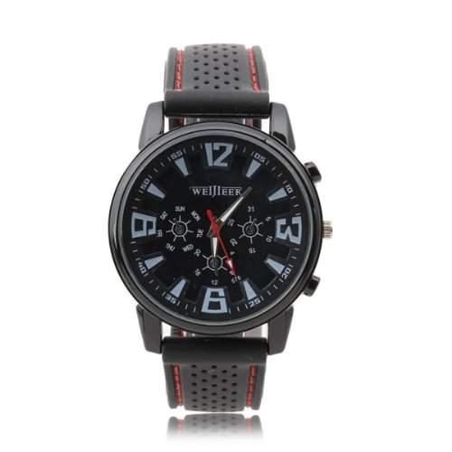 Herren Uhr Herrenuhr Armbanduhr Quarzwerk Quarzuhr Silikon Laessig Langlebig Mode
