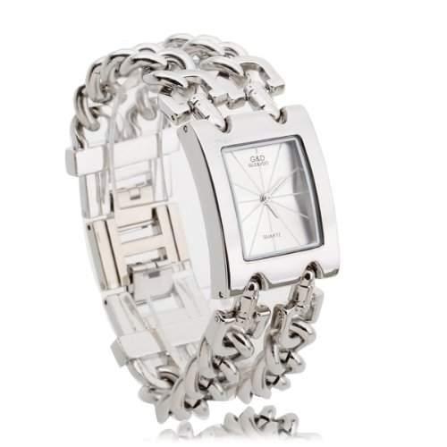 Damen Uhr Armbanduhr Quarz Uhren Armband Armkette Legierung Silberweiss Modern