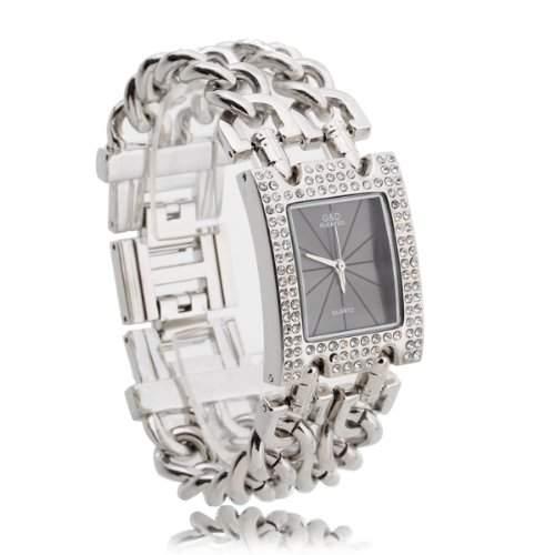 Damen Uhr Armbanduhr Quarz Uhren Armband Armkette mit Strass Silbergrau Modern