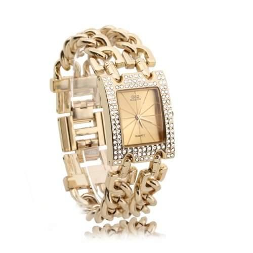 Damen Uhr Armbanduhr Quarz Uhren Armband Armkette mit Strass Goldfarbe Trendig