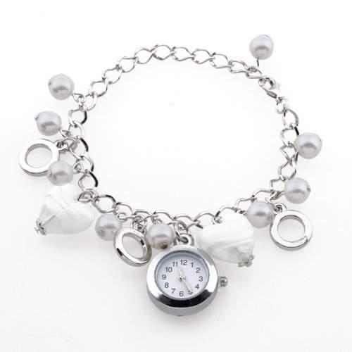 Damen Modeuhr Armbanduhr Quarzuhr Armkette Uhr Weiss Kunstperlen Charms