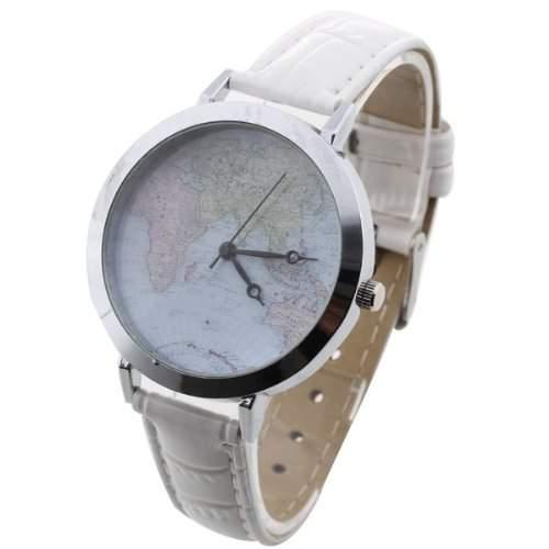 Damen Quarzuhr Quarz Uhr Armbanduhr Damenuhr Watch PU Weltkarte Motiv Weiss