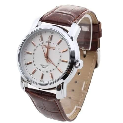 Herren Uhr Herrenuhr Armbanduhr Quarzwerk Quarzuhr PU Leder mit Strass Braun