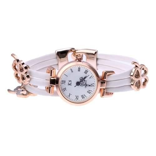 Damen Quarzuhr Armbanduhr Armkette Uhr PU Acryl Roemische Ziffer Clover Deko Weiss