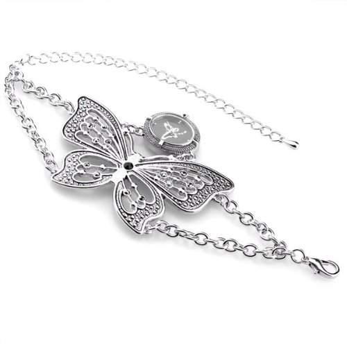 Damen Quarz Uhr Armband Armbanduhr Armkette Armreif Schmetterling TRENDIG