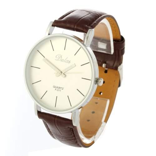 Armbanduhren Armbanduhr Quarz Uhr Herren Kunstleder Watch Laessig Trend Braun