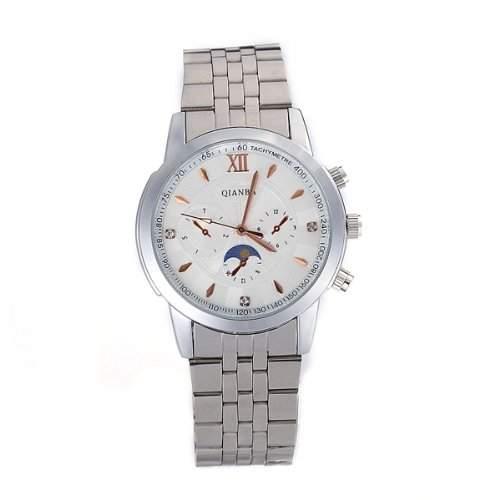 Herren Uhr Herrenuhr Armbanduhr Quarzuhr Quarzwerk Edelstahl Silberfarbe Trend