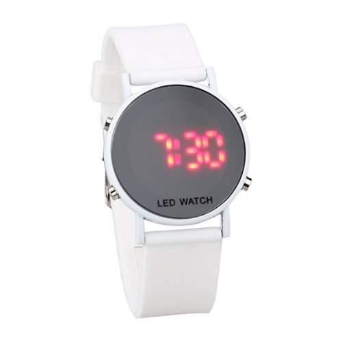 Silikon LED Armbanduhr Damenuhr Sport Armband Uhr weisses Uhrband