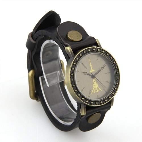 1x Damen Leder Uhr Quarzuhr Armbanduhr Damenuhr Bronze+Schwarz Retro Mode