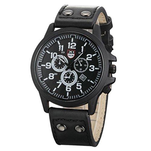 Franterd Uhren Weinlese Maenner impraegniern Datum Lederband Sport Quarz Army Uhr Schwarz