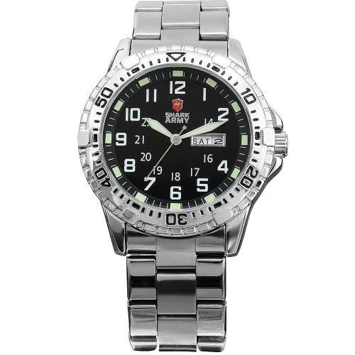 SHARK ARMY Quarzuhr Silber Armband aus Metall Datumanzeige SAW018