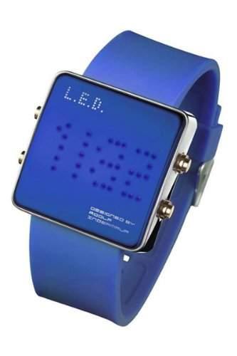 LED Uhr mit Silikonband und blauen LEDs - L69-085BL-ISL