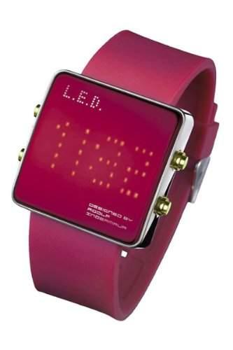 LED Uhr mit Silikonband und roten LEDs - L69-085RD-RSL