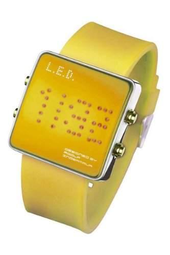 LED Uhr mit Silikonband und roten LEDs - L69-085RD-YSL