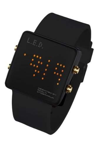 LED Uhr mit Silikonband und orangen LEDs - L69-086OE-BSL