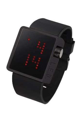 LED Uhr mit schwarzem Gehaeuse und roten LEDs - L70-01BRD-BSL
