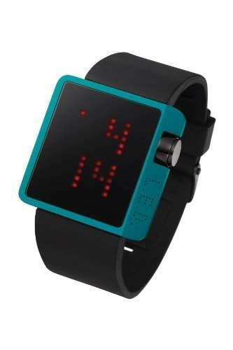 LED Uhr mit blauem Gehaeuse und roten LEDs - L70-01IRD-BSL