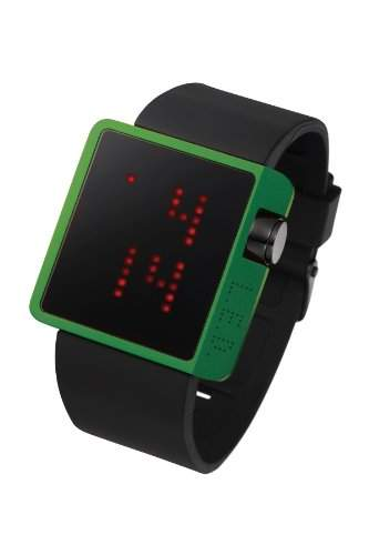 LED Uhr mit gruenem Gehaeuse und roten LEDs - L70-01LRD-BSL