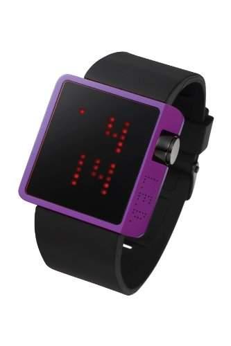 LED Uhr mit violettem Gehaeuse und roten LEDs - L70-01PRD-BSL