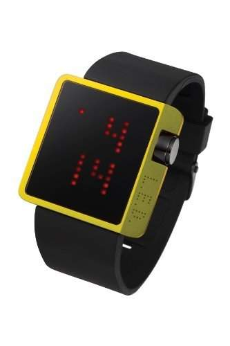 LED Uhr mit goldenem Gehaeuse und roten LEDs - L70-01YRD-BSL