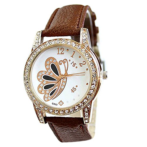 Mode Damen Retro Schmetterling Muster Strass Analoge Uhr Braun