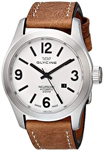 Glycine Incursore Automatic Stainless Steel Mens Strap Watch Silver Dial Calendar 387411-LB