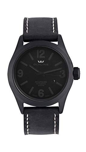 Glycine Incursore Automatic PVD Coated Stainless Steel Mens Strap Watch Black Dial Calendar 3874999
