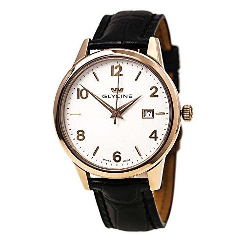 GLYCIN 3925 21 Herren s Classic weiss Zifferblatt Rose Gold Stahl schwarz Lederband Armbanduhr